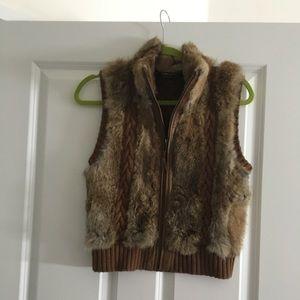 BCBG rabbit fur vest
